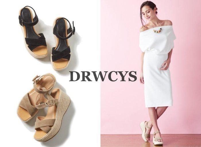 SHINY SPO 獨家代理日本品牌 DRWCYS 都會時尚渡假百搭絨布交叉綁帶藤編厚底中高跟涼鞋