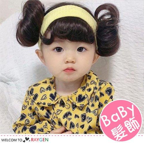HH婦幼館 超Q寶寶雙包丸子頭假髮髮帶 髮飾 假髮帽【2F205M782】