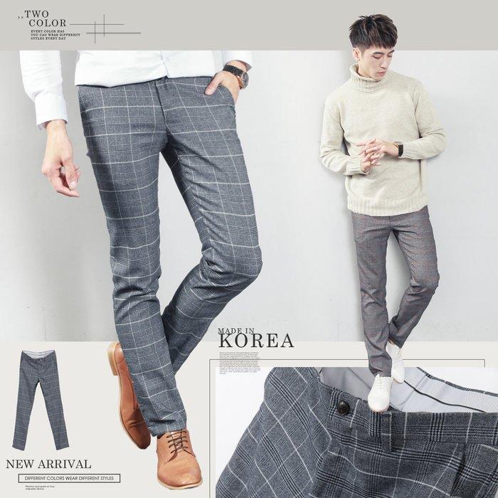 。SW。【K32127】正韓MR 韓國製 修身顯瘦 質感 彈性西裝布 窄版 雅痞紳士 格紋 西裝褲 下標區  英倫GD