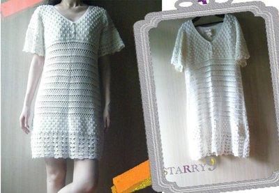 *最後出清單一特價* Lauren Moffatt Crochet Flutter Sleeve Dress 白色球球簍空勾針針織洋裝 (附內搭)