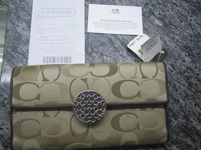 100%新 100%真品《Coach》雙CC Tri-fold wallet F46217 卡其色 花棉布面 配真皮 銀包《原價$1,810》