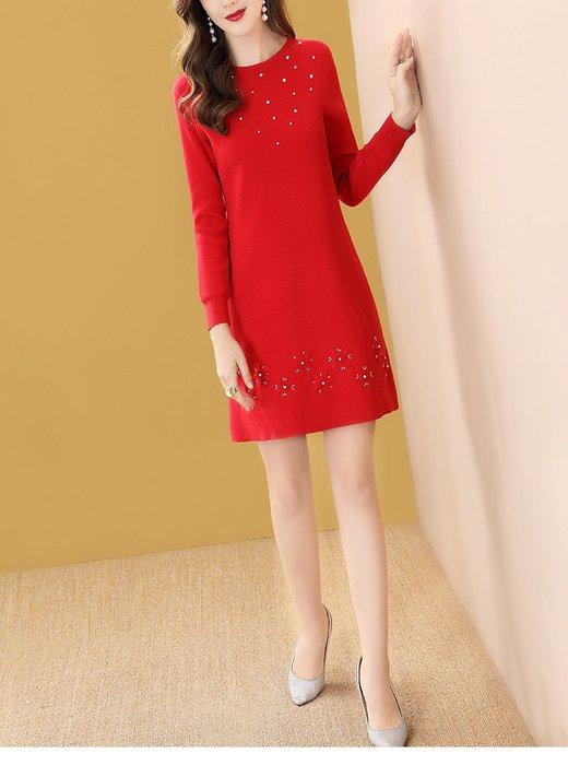 妞妞婚紗禮服~婆婆媽媽红色釘珠針織A字裙修身洋裝連衣裙禮服 ~3件免郵