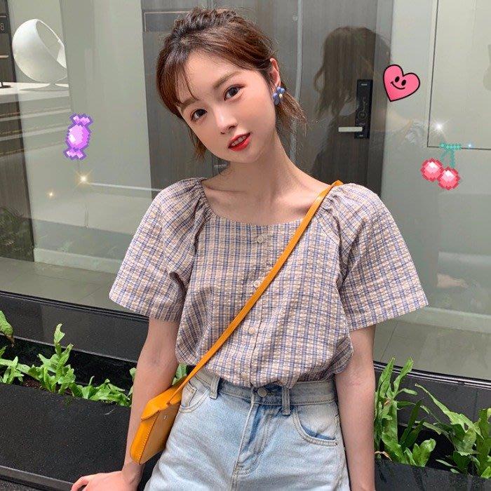 小香風 短袖T恤 時尚穿搭 氣質方領單排扣寬松甜美減齡格子小清新短袖襯衫女裝