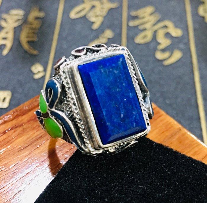 珍奇翡翠珠寶首飾-戒指系列-阿富汗青金石戒指搭配925銀景泰藍戒台(活動圍)純銀復古做舊戒台