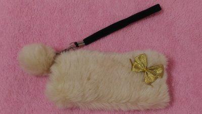 ❀甜心棧❀毛茸茸毛球造型蝴蝶結小化妝包 #出清雜物#