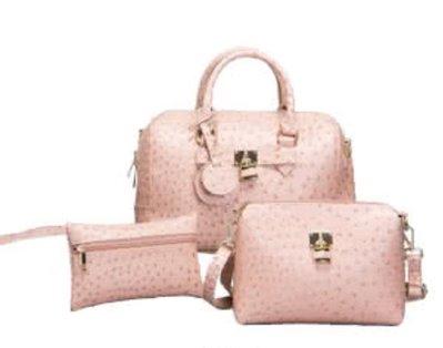 國外帶回粉色鴕鳥紋包組