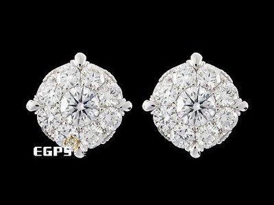 【永生流當品】 K金鑽耳飾 白K金 精鑲 鑽石耳環  18顆 共約0.95CT TCZ4817