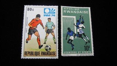 【大三元】非洲郵票-3.盧宏達-各國運動專題-足球--新票2枚-原膠