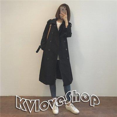 〥KVLOVE SHOP〥韓國  人手一件經典雙排扣黑色長款風衣外套〥特價