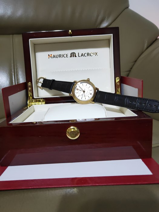 Maurice Lacroix 艾美原廠全新錶帶+18K金字扣 五針 贈復刻完全替代全新錶帶黑+棕色各1條+送雙按蝴蝶扣