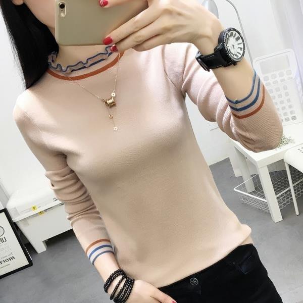 2018秋冬新款韓版長袖t恤女針織女士上衣學生大碼修身顯瘦打底衫