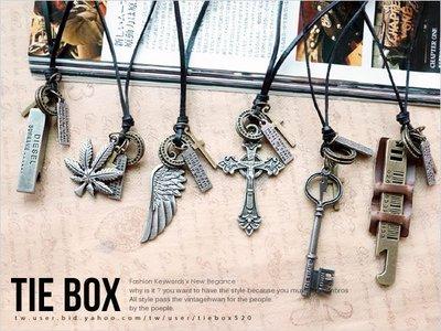 鐵BOX- N398 韓國街頭必備好搭古著皮革項鍊 長項鍊 可搭情人對鍊禮物 鍊長可調  單條價