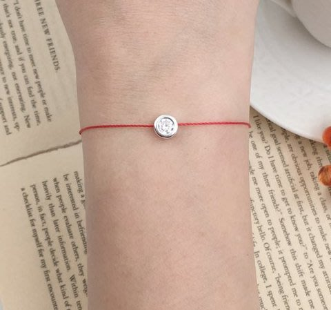 [Le Bonheur Line] 幸福線 手工/925純銀 6mm 包鑲鑽 手鍊 手線 redline 手繩 單鑽