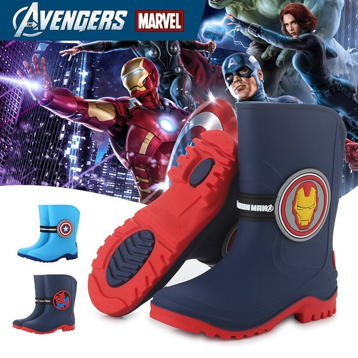 【Kathie Shop】迪士尼卡通米老鼠兒童雨鞋漫威蜘蛛人鋼鐵人美國隊長中大童男童女童防滑PVC雨鞋可加絨