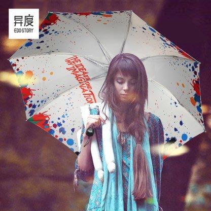創意黑膠遮陽傘 防紫外線太陽傘時尚女防曬小黑傘晴雨傘兩用