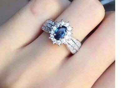 水晶珠寶翡翠S925银镀白金 镶嵌4*6天然藍寶石 寶石屬山東礦區 天然無燒 用高品質寶石