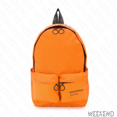 【WEEKEND】 OFF WHITE Quote Backpack 後背包 橘色
