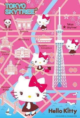 日本進口拼圖專賣店_凱蒂貓300片_HELLOKITTY東京天空樹採訪(可另購木框 裱框)43-309
