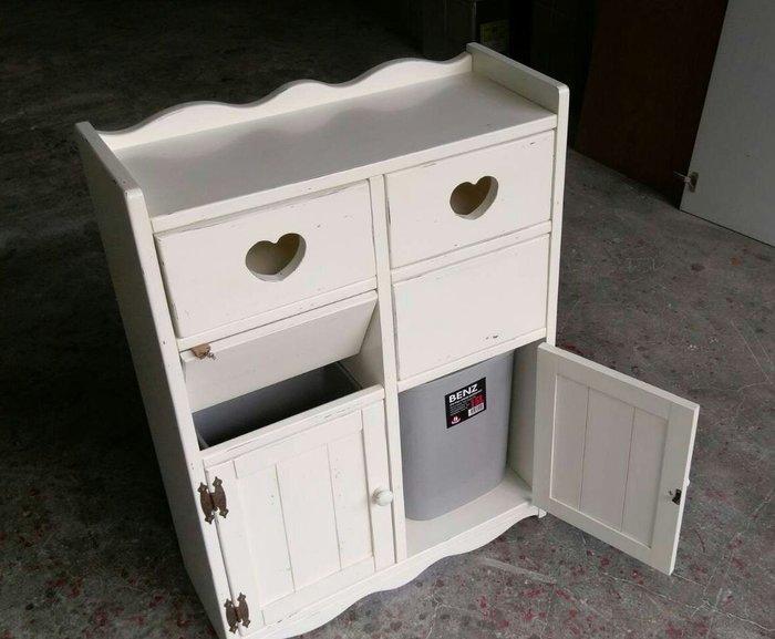 美生活館鄉村家具訂製-- 客訂雙抽雙投入刷舊白 分類垃圾桶 收納桶 回收桶