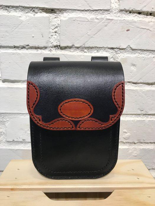 【IAN X EL】黑色真皮植鞣革騎士腰包  純手工皮件  提供免費刻字服務