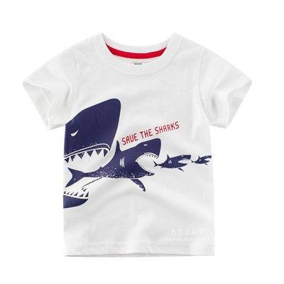 【可愛村】大吃小鯊魚印花短袖T恤 童裝 上衣 T-shirt