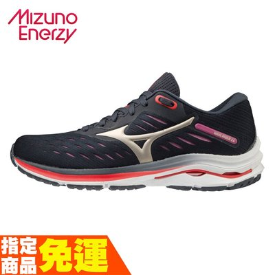 MIZUNO WAVE RIDER 24 一般楦 女款一般型慢跑鞋 黑紅 J1GD200343 贈腿套 20SS