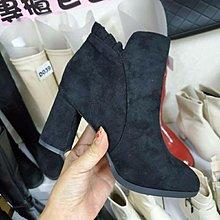☆╮街頭教主。直播爆款正韓高品質荷葉邊粗高跟短靴 機車靴