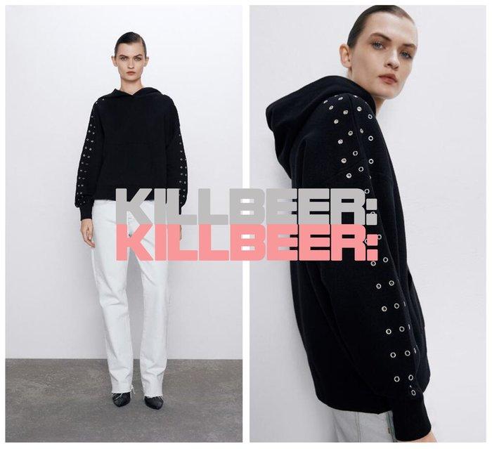 KillBeer:妞兒請妳別太帥之 歐美復古簡約設計感搖滾金屬卯丁排扣絕黑棉質連帽T恤上衣010608