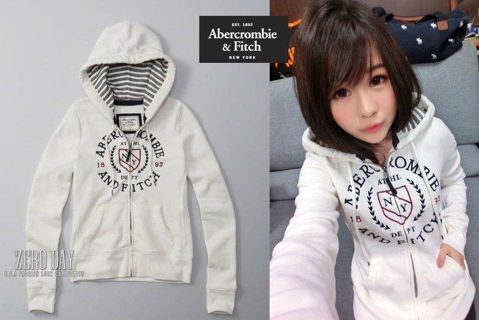 【零時差美國時尚網】A&F Abercrombie&Fitch Logo Full-Zip Hoodie連帽外套-白色