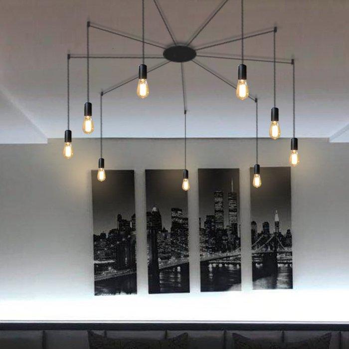 【58街】「幾何線條吊燈/9燈款 」極致典雅品味/燈具/美術燈。複刻版。GH-564