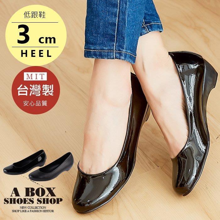 格子舖*【ADNP518】素面皮革霧面漆皮小坡跟包鞋娃娃鞋 低跟鞋 OL 上班族 台灣製 2色