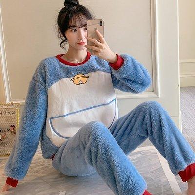 【星語】睡衣女秋冬季珊瑚絨加厚藍叮當貓可愛學生保暖法蘭絨冬家居服套裝A22