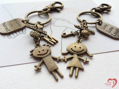 ♥ STORY SAYS ♥【愛情裡的小心機】手創 客製 Love運動系列古銅成對鑰匙圈 吊飾 情侶 情人節 禮物 朋友