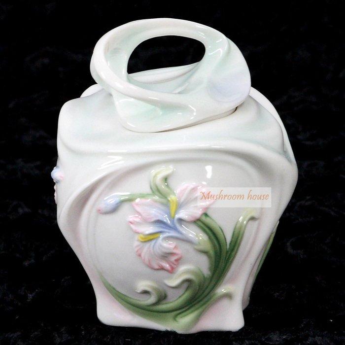 點點蘑菇屋 精緻歐洲高級瓷器亞諾弗系列-鳶尾花陶瓷置物罐 糖罐 香料罐 萬用罐子 藝術陶瓷精品 擺飾 櫥窗擺設 現貨