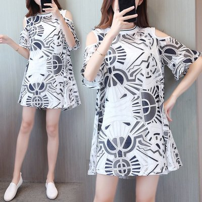 GOGO SHOP☆╭歐美新款 蕾絲兩件式露肩連身裙 印花蕾絲洋裝【Y1450】XL~5XL另雪紡背心  大碼水水 襯衫