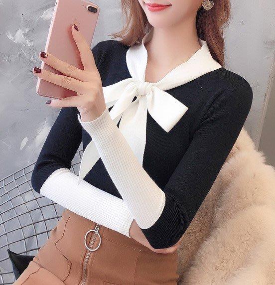 【An Ju Shop】韓國風 秋冬 繫帶蝴蝶結修身拼色長袖內搭外穿上衣針織衫~OI173009