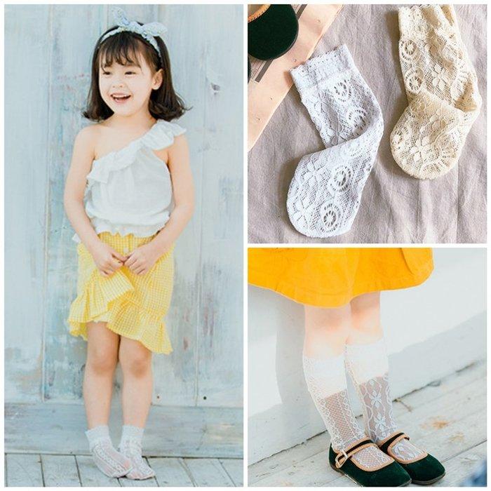 【小阿霏】兒童透氣堆堆襪 女孩蕾絲花邊縷空無跟襪 女童夏日襪子 搭配洋裝皮鞋涼鞋都好看PA256