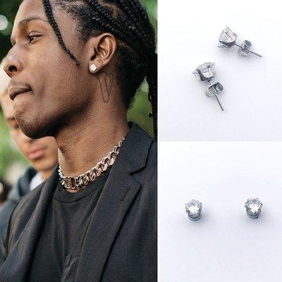賓士印象~Asap Rocky吳亦凡同款耳釘超閃鋯石鉆石7mm磁鐵耳環嘻哈男女耳飾