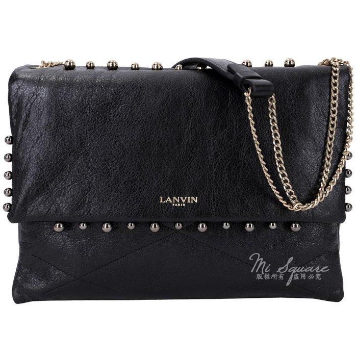 米蘭廣場  LANVIN QUILTED LAMBSKIN SUGAR珍珠鉚釘羊皮鍊帶肩背包(黑色)1530455-01