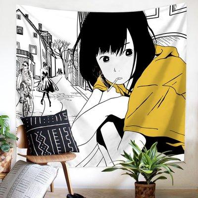 INS北 歐黑白人 物墻壁裝 飾掛毯桌 布背景布 宿舍墻體 布遮擋掛 布隔斷