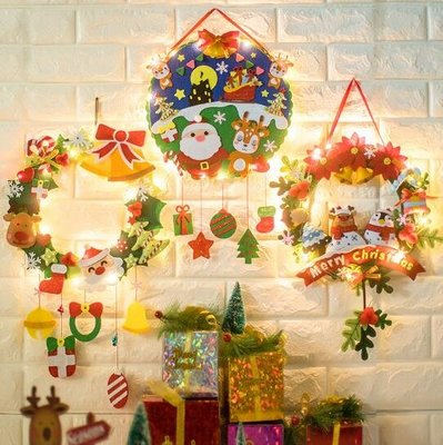 免裁剪聖誕裝飾品門環門挂不織布手工制作布藝diy材料包 聖誕花環 莎芭