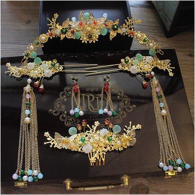 韓國飾品館&新款新娘古裝頭飾古典步搖流蘇套裝中式旗袍秀禾服古裝鳳冠配飾