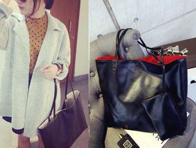 ~~╮玫瑰~誌~MR801  複古 簡約撞色 袋 子母包 大包包 手提單肩包,直購390元