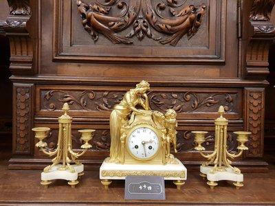 ✠卡卡頌精品.皇家之門 – 歐洲古董精品&燈飾 ✠19世紀 法國百年 鎏金純銅小天使雕刻 大理石座鐘組 BD-103✬