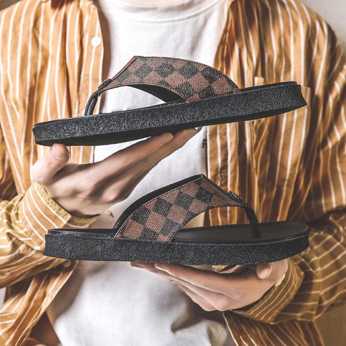 6Du spot~潮牌2020夏季新款人字拖男士拖鞋個性室外夾板涼拖鞋防滑透氣涼鞋