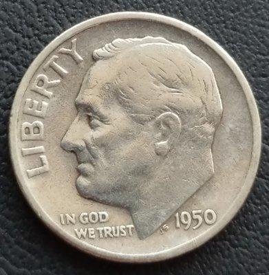 美國 羅斯福  1角  10分  ONE DIME  1950-S      銀幣(90%)    280-877