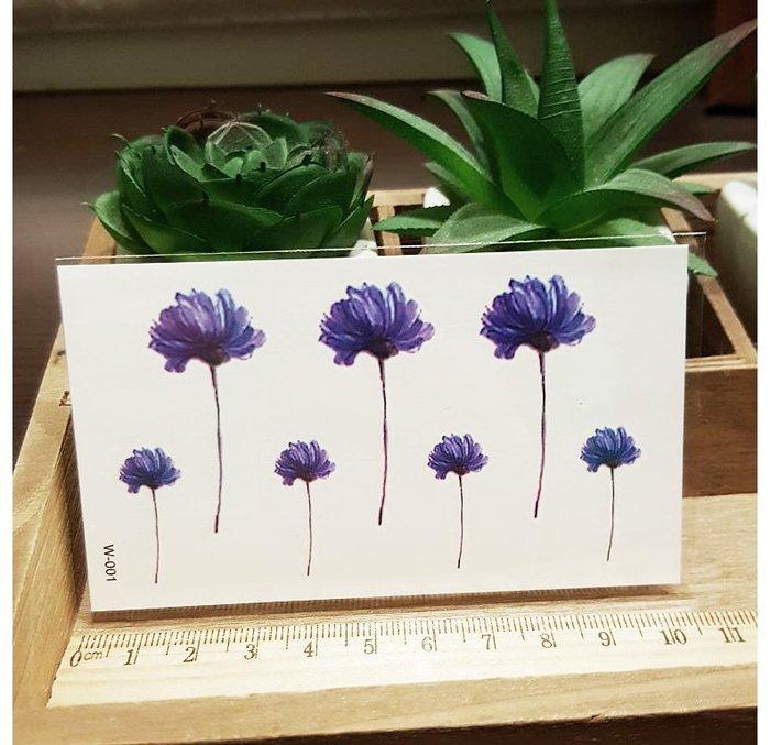【萌古屋】藍紫色雛菊 - 男女防水紋身貼紙刺青貼紙QS-384 K12