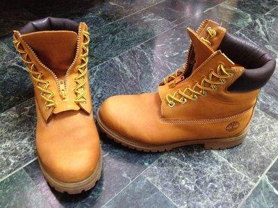 【拍賣唯一】Timberland 黃靴 手工打造 7孔 七孔 黃色 拉鍊盤 免綁鞋帶