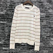Maple麋鹿小舖 Abercrombie&Fitch * A&F 米色條紋長袖薄毛衣 * ( 現貨S號 )