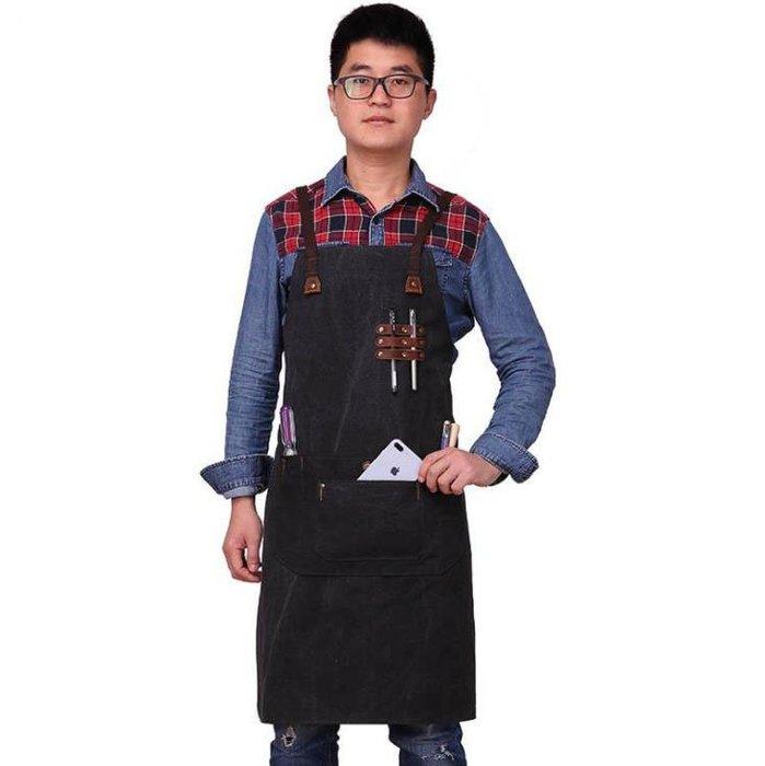 新款工作圍裙純棉複古防水圍裙高檔咖啡店工匠圍裙 帆布圍裙